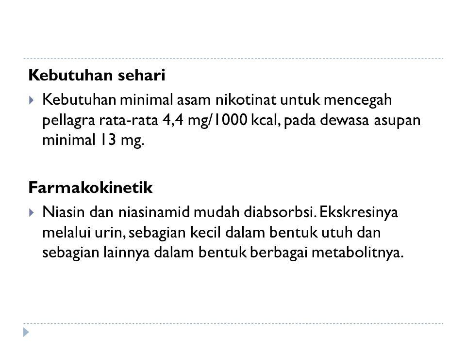 Kebutuhan sehari Kebutuhan minimal asam nikotinat untuk mencegah pellagra rata-rata 4,4 mg/1000 kcal, pada dewasa asupan minimal 13 mg.