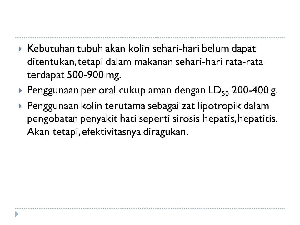 Kebutuhan tubuh akan kolin sehari-hari belum dapat ditentukan, tetapi dalam makanan sehari-hari rata-rata terdapat 500-900 mg.