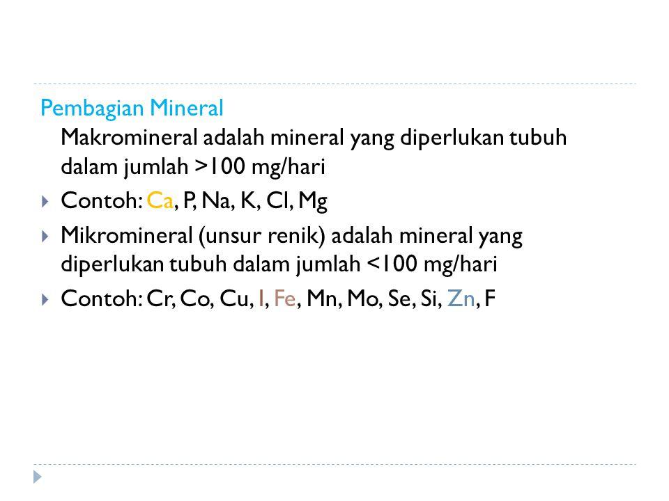 Pembagian Mineral Makromineral adalah mineral yang diperlukan tubuh dalam jumlah >100 mg/hari
