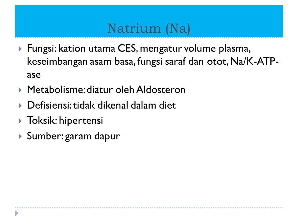 Natrium (Na) Fungsi: kation utama CES, mengatur volume plasma, keseimbangan asam basa, fungsi saraf dan otot, Na/K-ATP- ase.