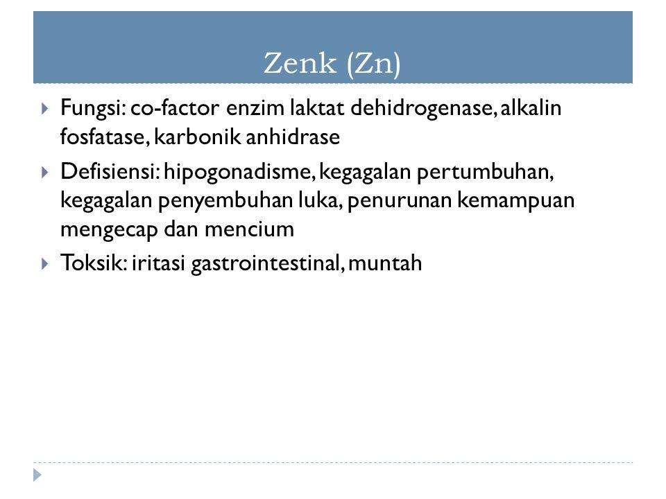 Zenk (Zn) Fungsi: co-factor enzim laktat dehidrogenase, alkalin fosfatase, karbonik anhidrase.