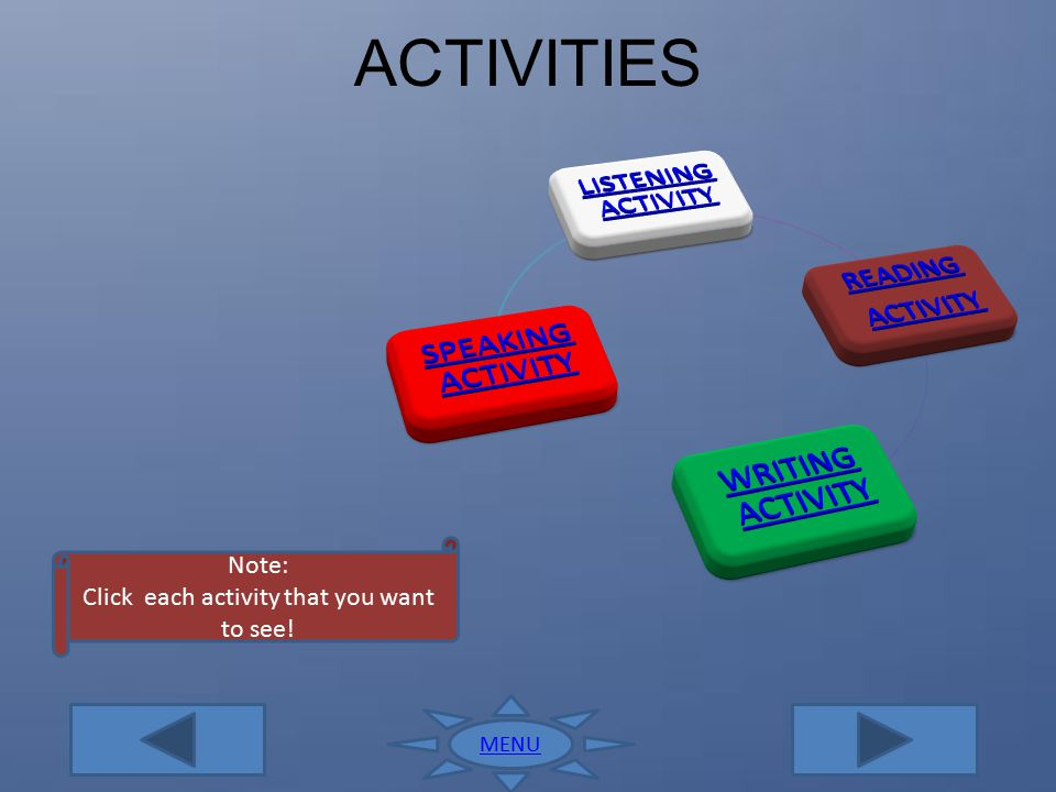 Click each activity that you want to see!