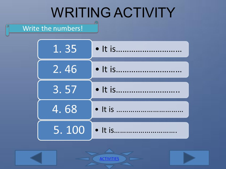 WRITING ACTIVITY Write the numbers! ACTIVITIES 1. 35 It is…………………………