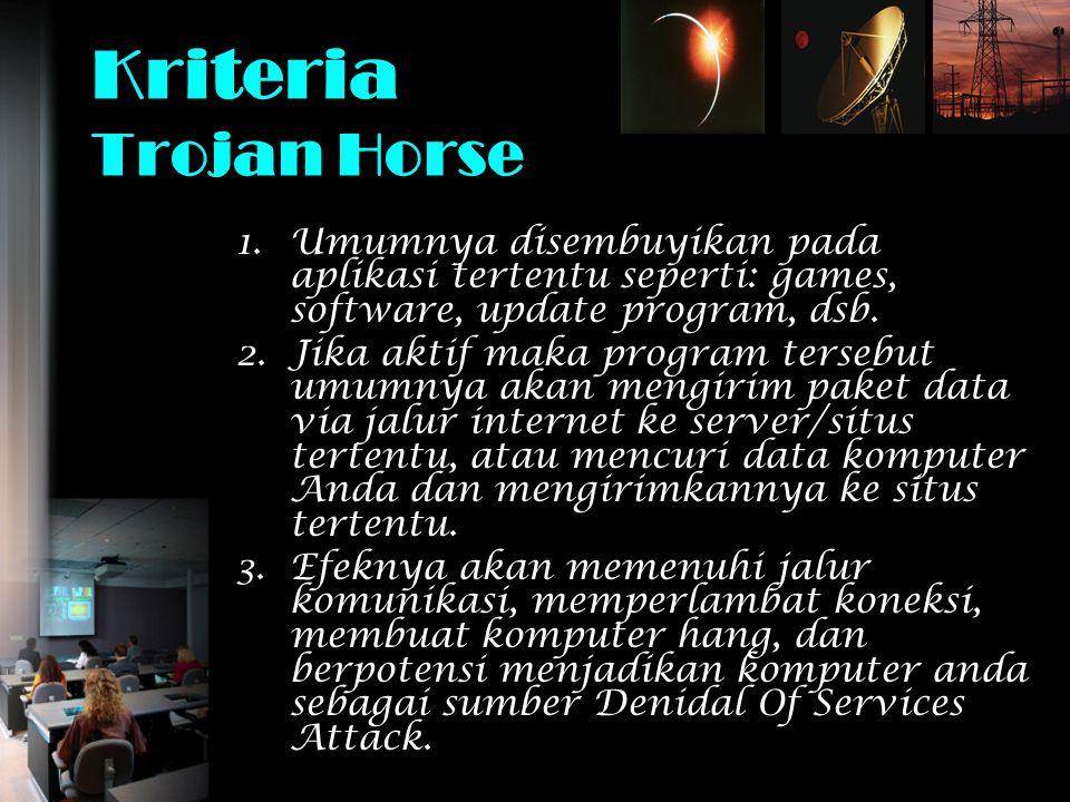 Kriteria Trojan Horse Umumnya disembuyikan pada aplikasi tertentu seperti: games, software, update program, dsb.