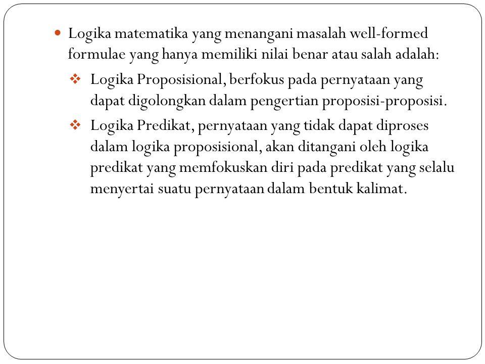 Logika matematika yang menangani masalah well-formed formulae yang hanya memiliki nilai benar atau salah adalah: