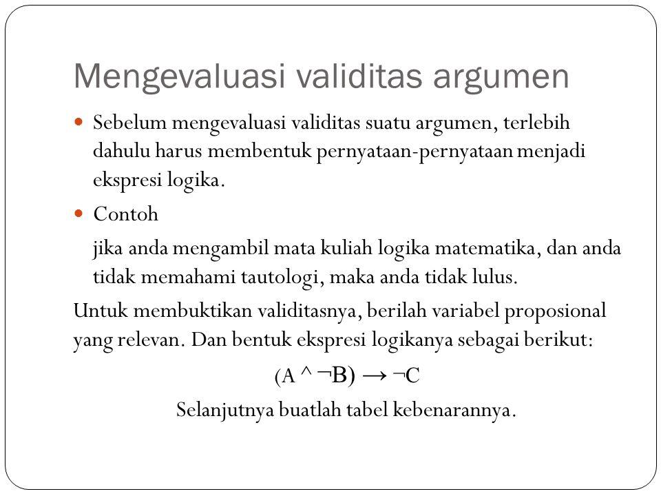 Mengevaluasi validitas argumen