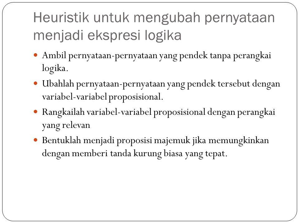 Heuristik untuk mengubah pernyataan menjadi ekspresi logika