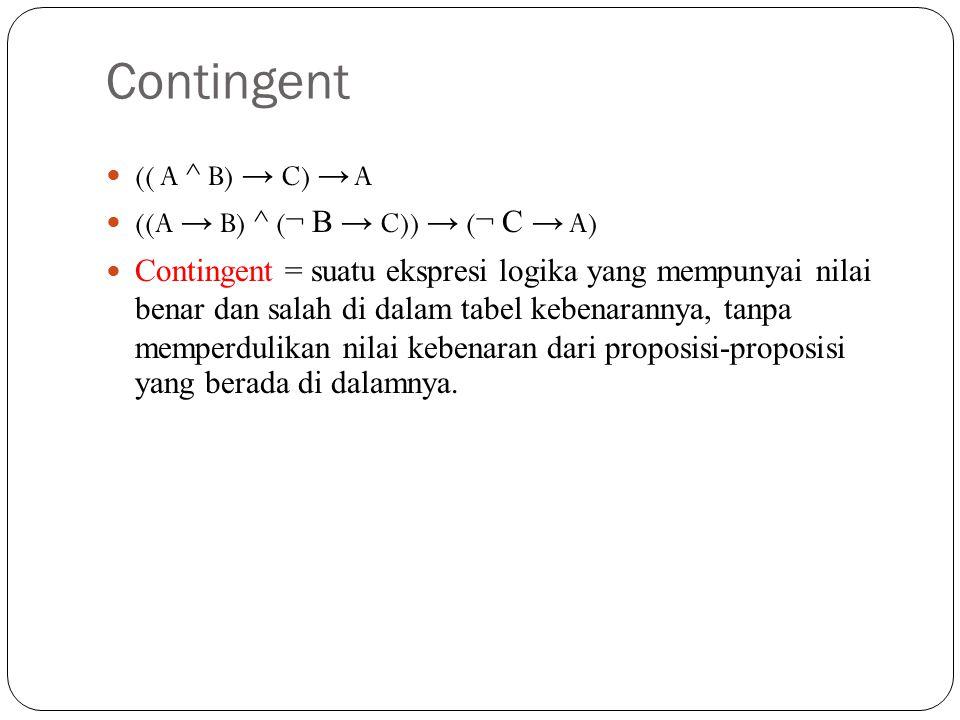 Contingent (( A ^ B) → C) → A ((A → B) ^ (¬ B → C)) → (¬ C → A)