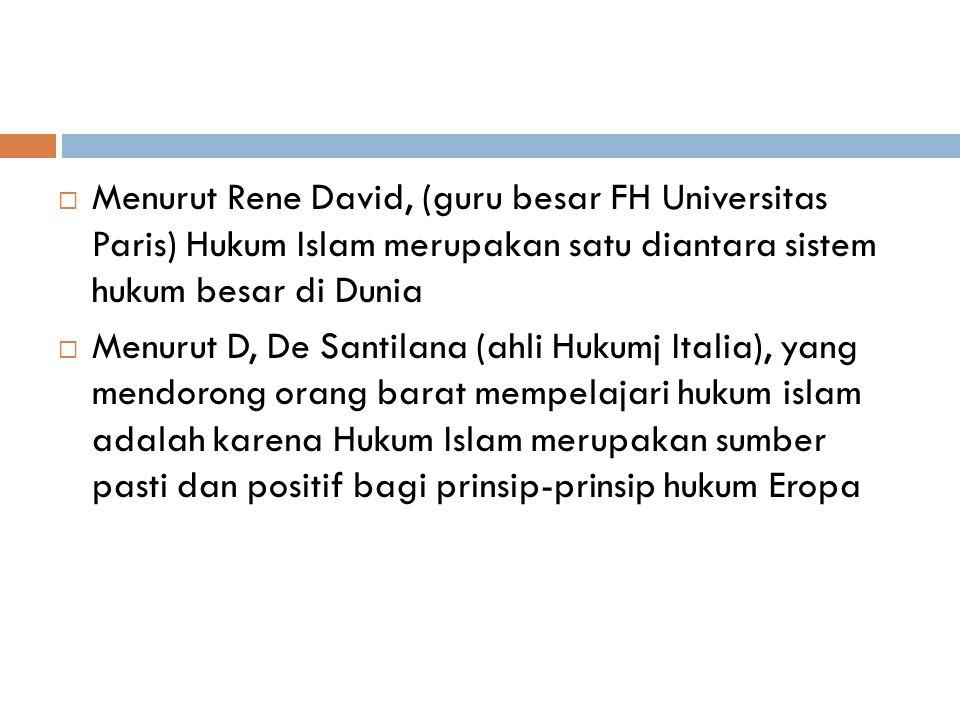 Menurut Rene David, (guru besar FH Universitas Paris) Hukum Islam merupakan satu diantara sistem hukum besar di Dunia