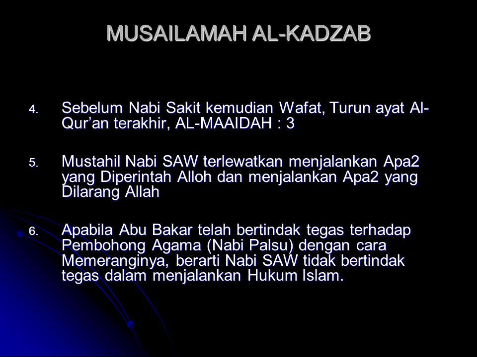 MUSAILAMAH AL-KADZAB Sebelum Nabi Sakit kemudian Wafat, Turun ayat Al-Qur'an terakhir, AL-MAAIDAH : 3.