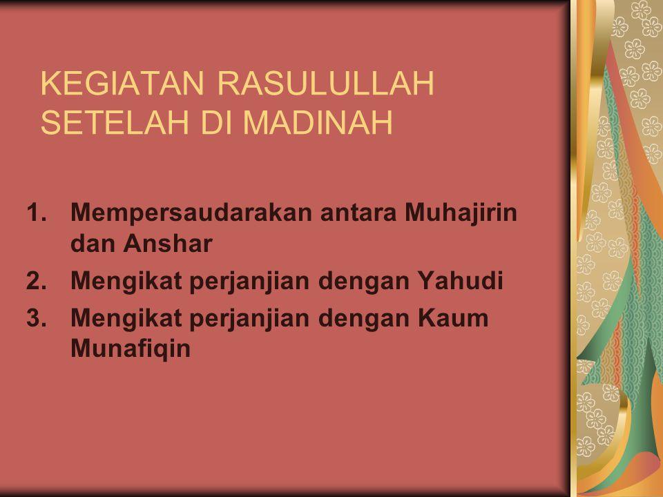 KEGIATAN RASULULLAH SETELAH DI MADINAH
