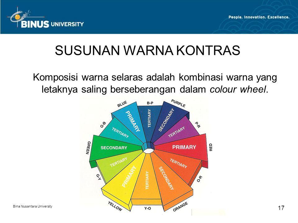 SUSUNAN WARNA KONTRAS Komposisi warna selaras adalah kombinasi warna yang letaknya saling berseberangan dalam colour wheel.