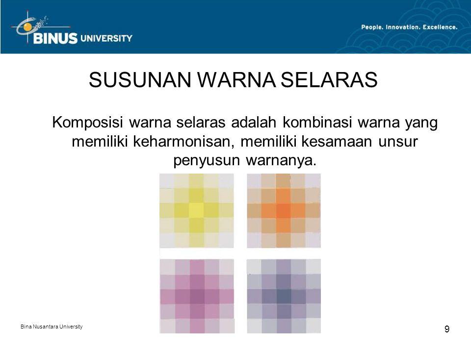 SUSUNAN WARNA SELARAS Komposisi warna selaras adalah kombinasi warna yang memiliki keharmonisan, memiliki kesamaan unsur penyusun warnanya.