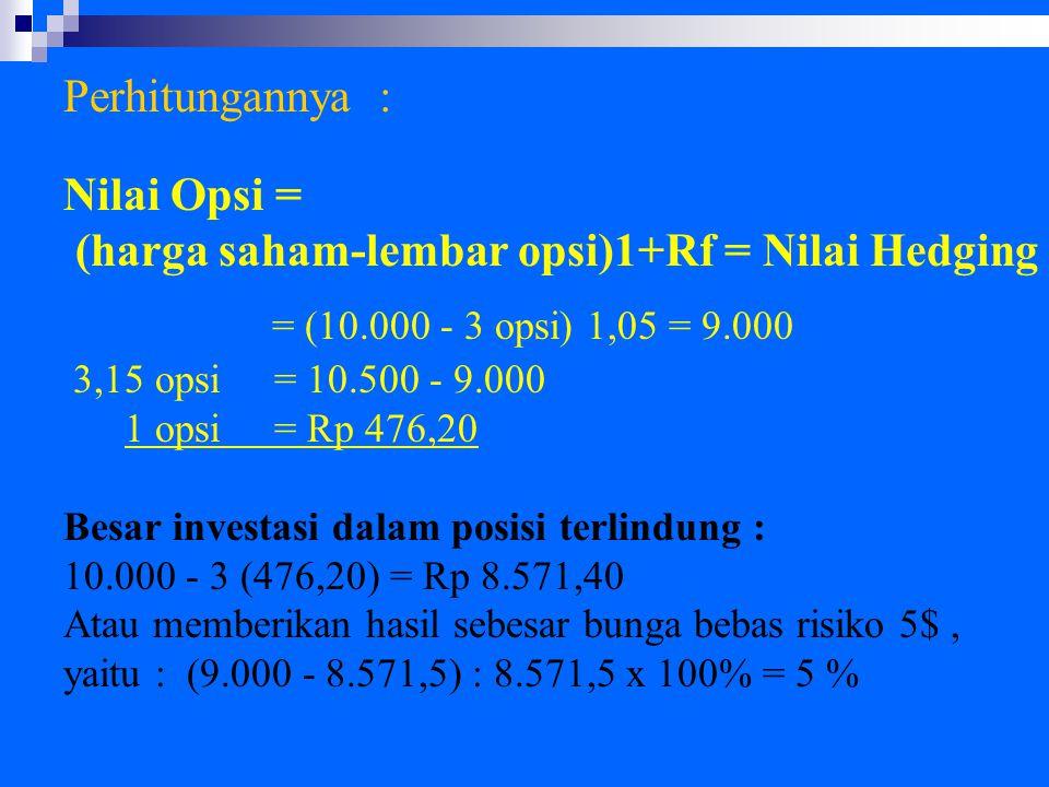 = (10.000 - 3 opsi) 1,05 = 9.000 Perhitungannya : Nilai Opsi =