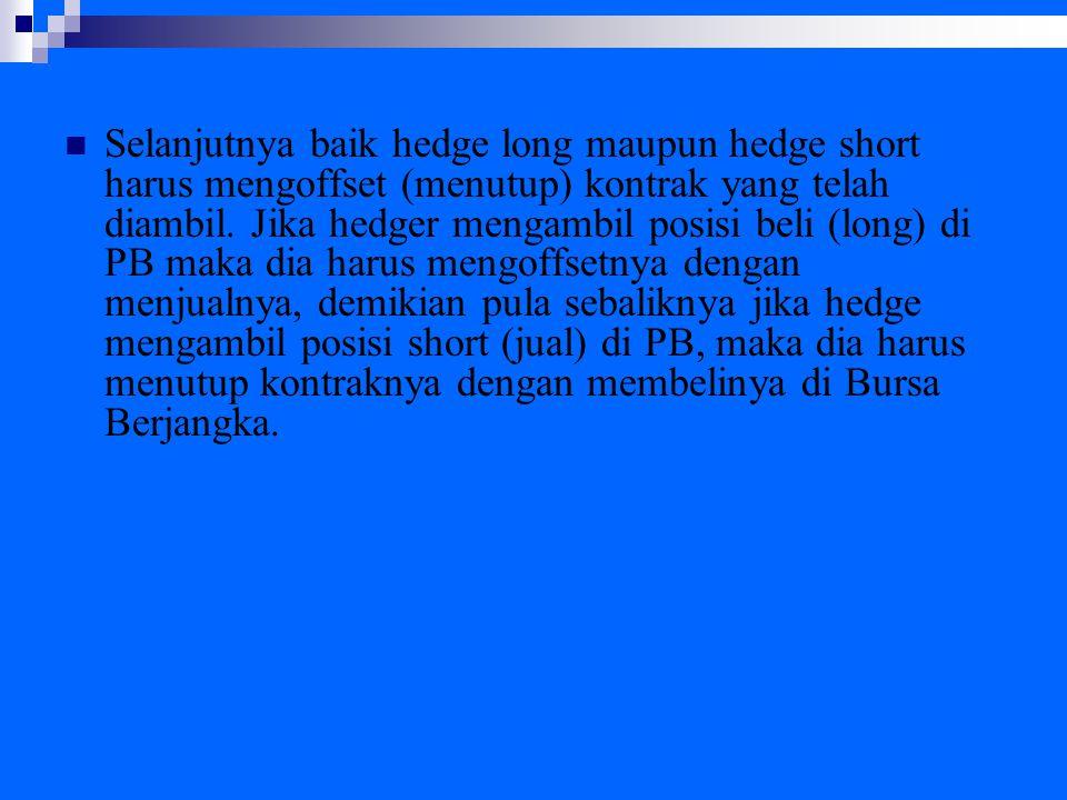 Selanjutnya baik hedge long maupun hedge short harus mengoffset (menutup) kontrak yang telah diambil.