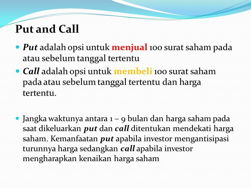 Put and Call Put adalah opsi untuk menjual 100 surat saham pada atau sebelum tanggal tertentu.