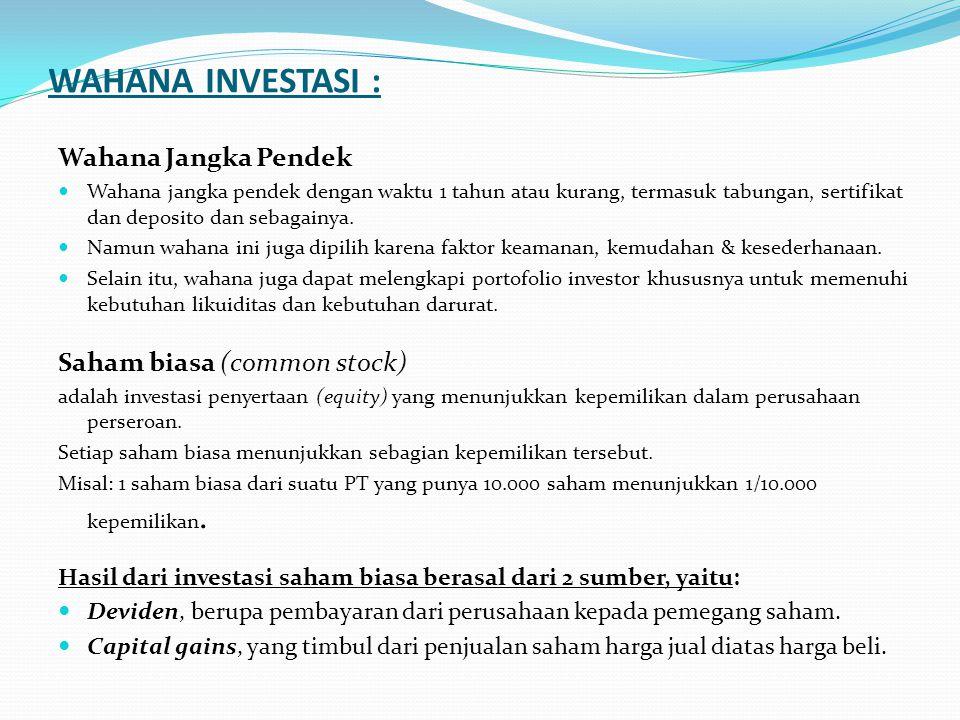 WAHANA INVESTASI : Wahana Jangka Pendek Saham biasa (common stock)