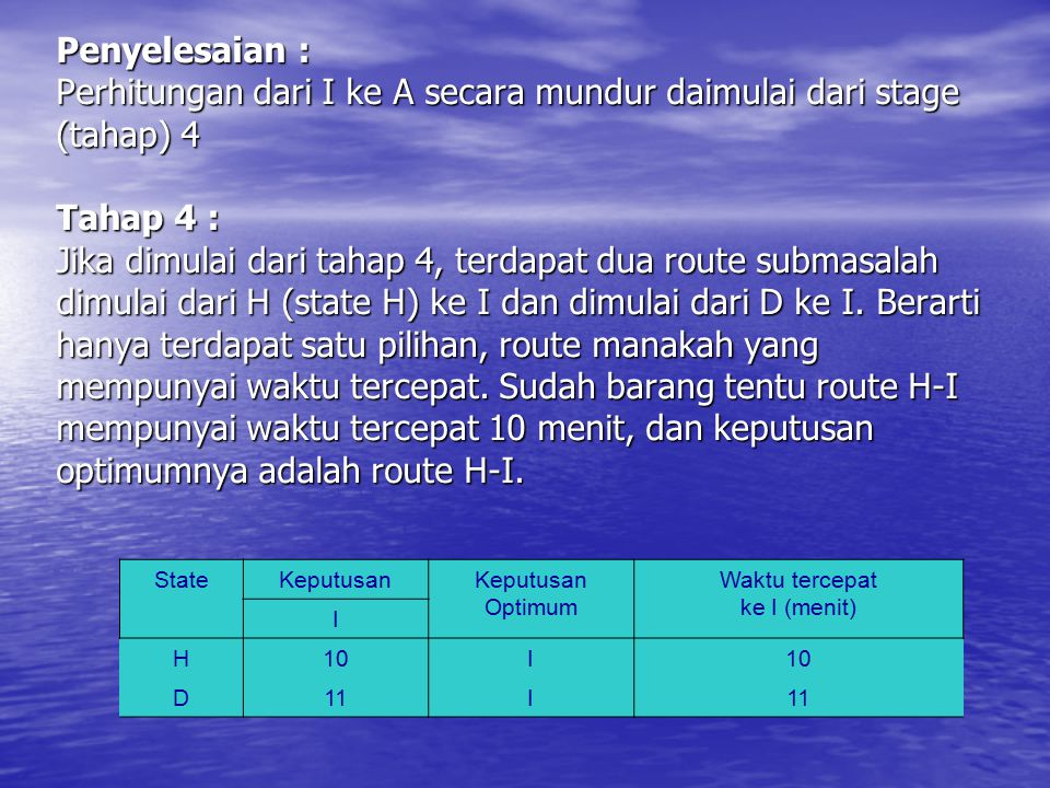 Penyelesaian : Perhitungan dari I ke A secara mundur daimulai dari stage (tahap) 4 Tahap 4 : Jika dimulai dari tahap 4, terdapat dua route submasalah dimulai dari H (state H) ke I dan dimulai dari D ke I. Berarti hanya terdapat satu pilihan, route manakah yang mempunyai waktu tercepat. Sudah barang tentu route H-I mempunyai waktu tercepat 10 menit, dan keputusan optimumnya adalah route H-I.