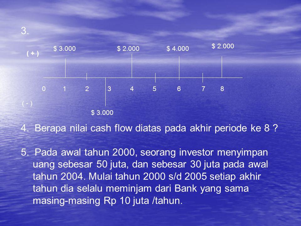 4. Berapa nilai cash flow diatas pada akhir periode ke 8