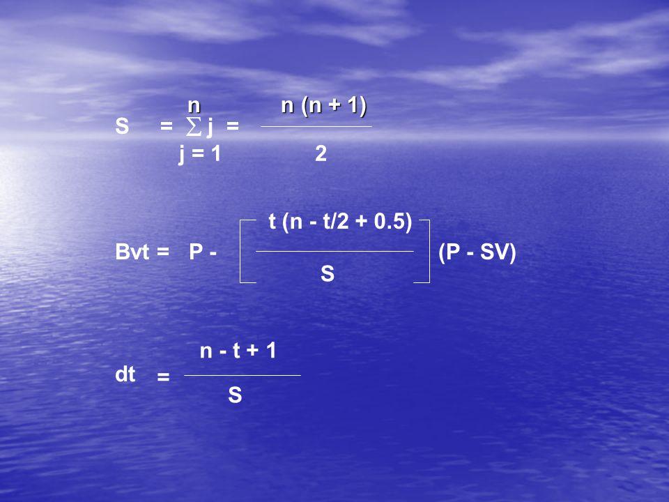 n n (n + 1) S =  j = j = 1 2. t (n - t/2 + 0.5) Bvt = P - (P - SV)