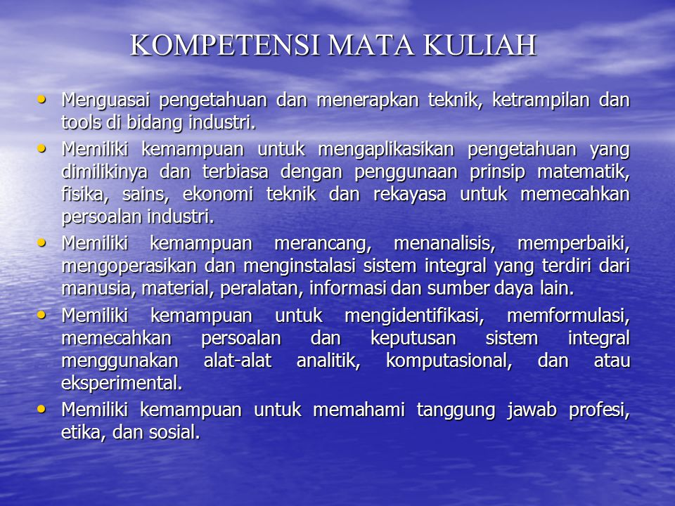 KOMPETENSI MATA KULIAH