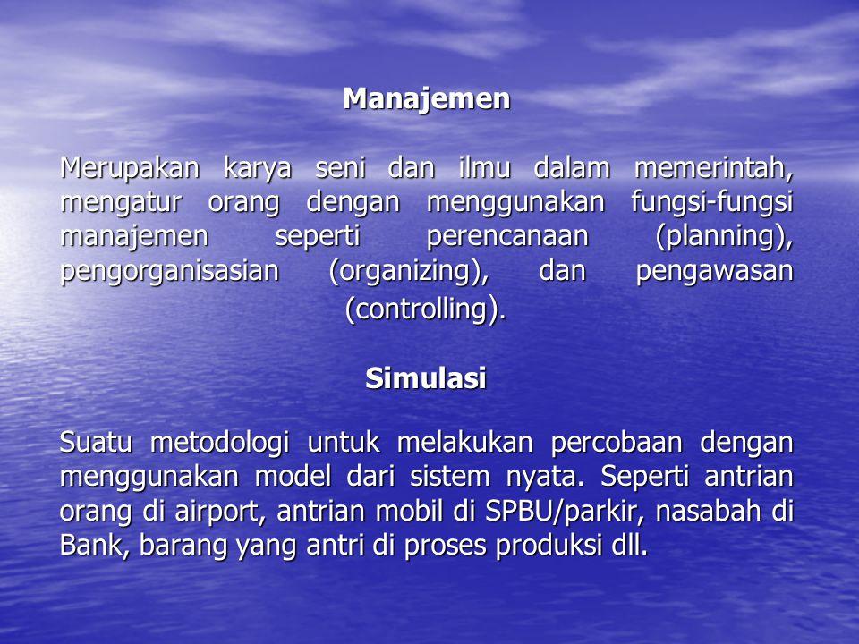 Manajemen Merupakan karya seni dan ilmu dalam memerintah, mengatur orang dengan menggunakan fungsi-fungsi manajemen seperti perencanaan (planning), pengorganisasian (organizing), dan pengawasan (controlling).