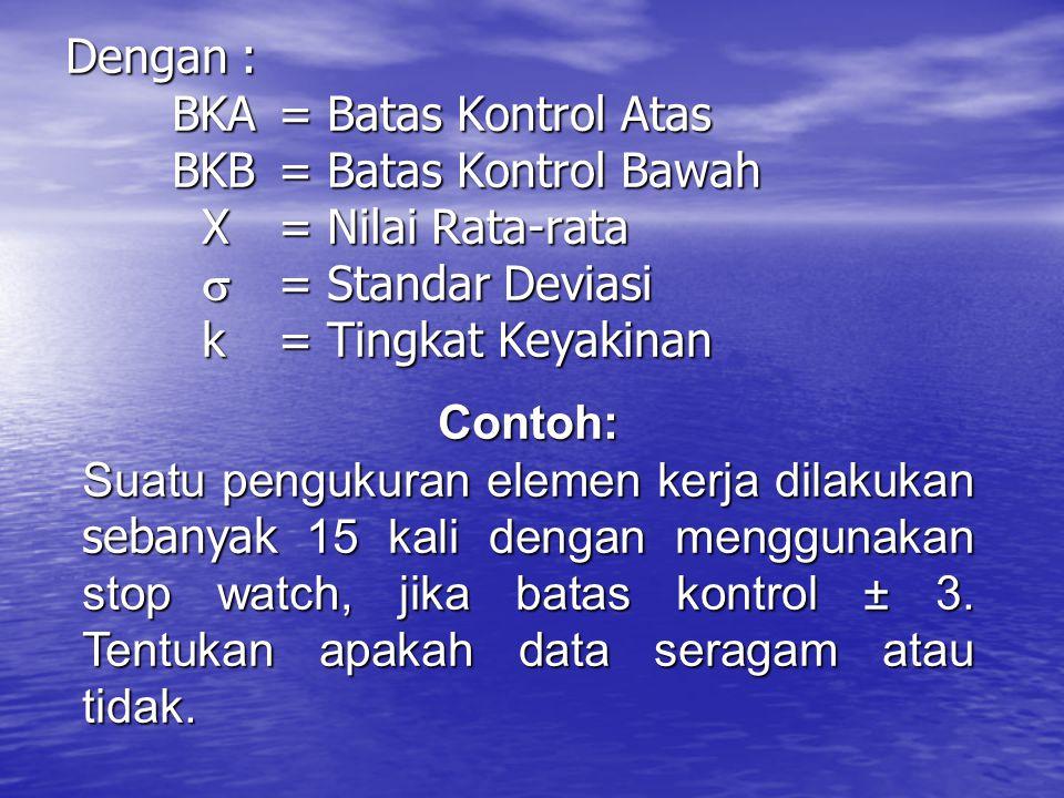 Dengan :. BKA. = Batas Kontrol Atas. BKB. = Batas Kontrol Bawah. X