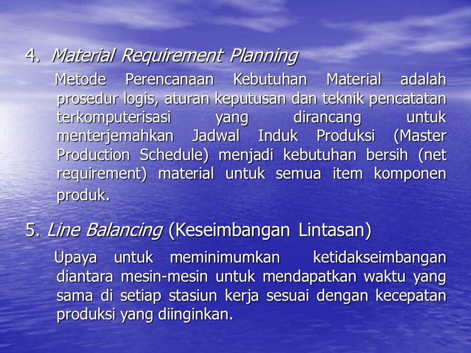 4. Material Requirement Planning