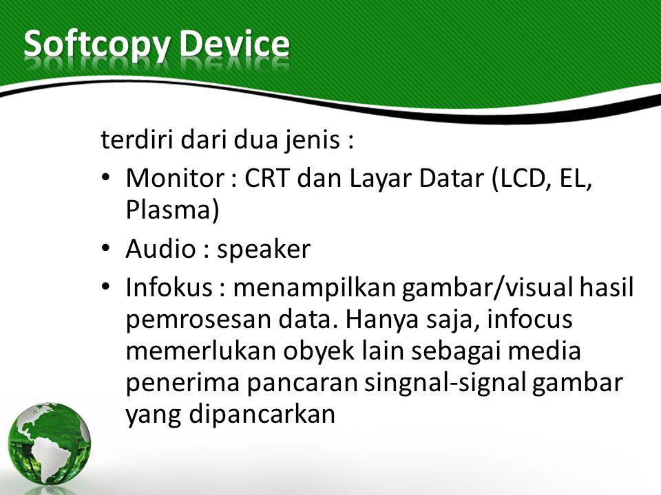 Softcopy Device terdiri dari dua jenis :