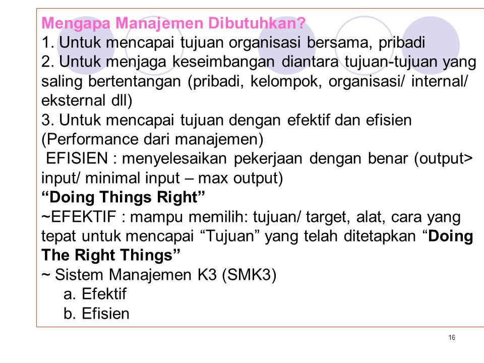 Mengapa Manajemen Dibutuhkan. 1
