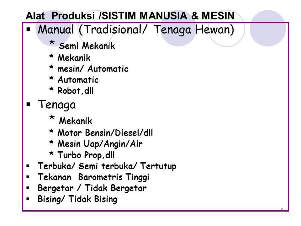 Alat Produksi /SISTIM MANUSIA & MESIN