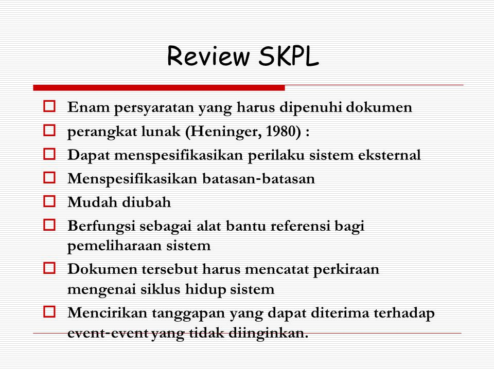 Review SKPL Enam persyaratan yang harus dipenuhi dokumen