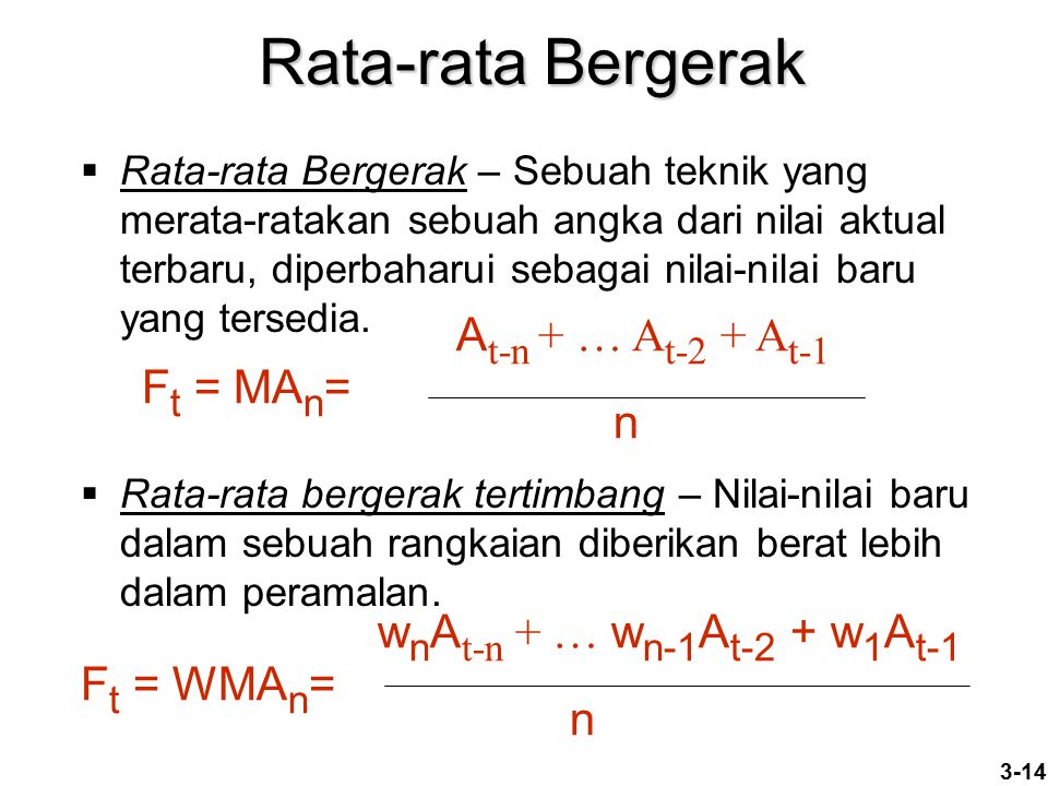 Rata-rata Bergerak At-n + … At-2 + At-1 Ft = MAn= n