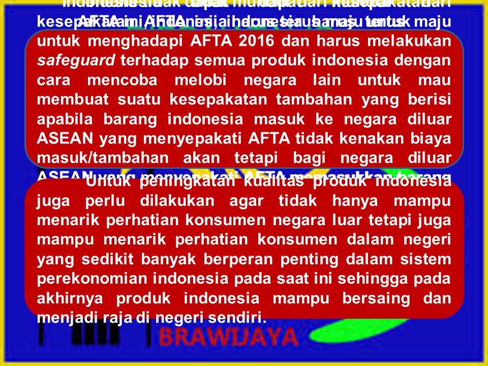 Indonesia tidak dapat mundur dari kesepakatan AFTA ini, indonesia harus terus maju untuk menghadapi AFTA 2016 dan harus melakukan safeguard terhadap semua produk indonesia dengan cara mencoba melobi negara lain untuk mau membuat suatu kesepakatan tambahan yang berisi apabila barang indonesia masuk ke negara diluar ASEAN yang menyepakati AFTA tidak kenakan biaya masuk/tambahan akan tetapi bagi negara diluar ASEAN yang menyepakati AFTA memasukkan barang ke indonesia harus dikenakan biaya tambahan .