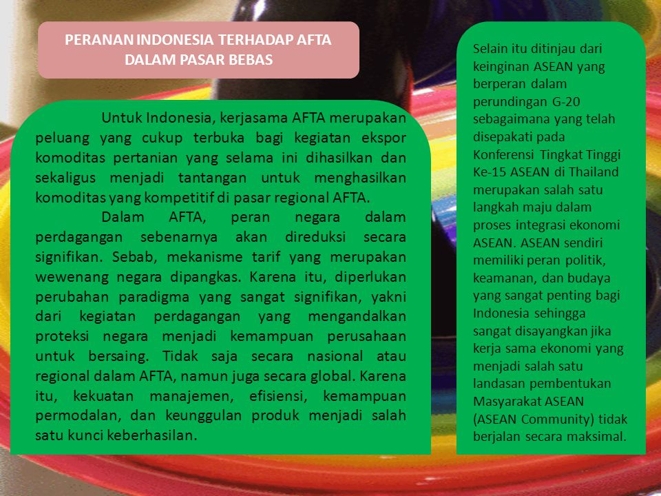 PERANAN INDONESIA TERHADAP AFTA DALAM PASAR BEBAS