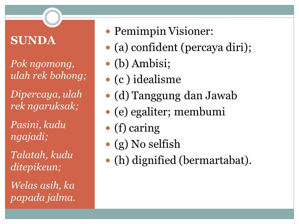 SUNDA Pemimpin Visioner: (a) confident (percaya diri); (b) Ambisi;