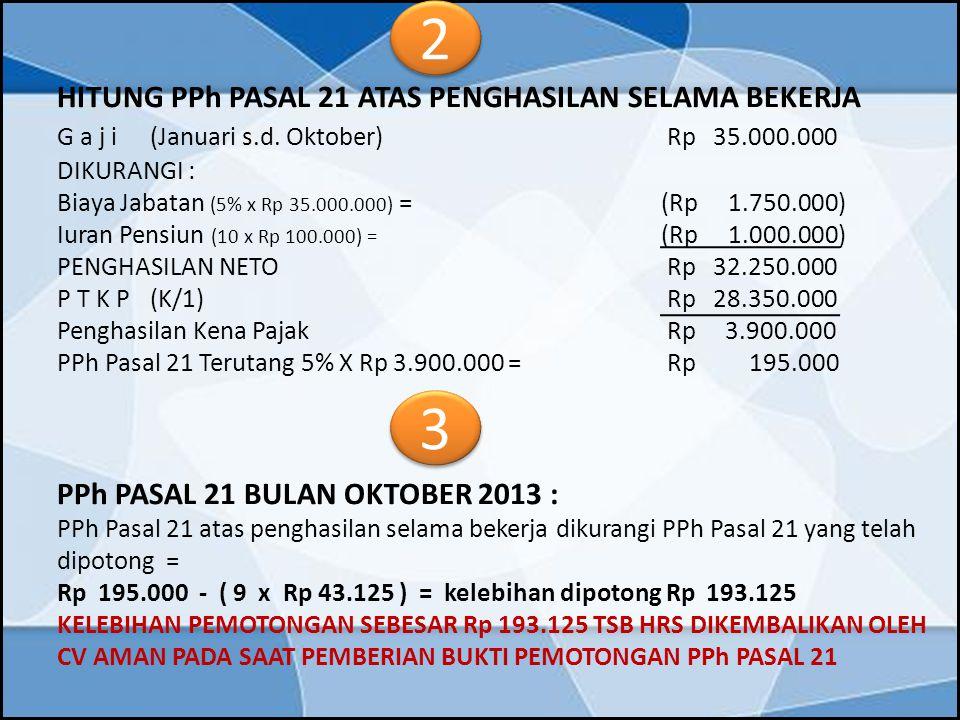 2 3 G a j i (Januari s.d. Oktober) Rp 35.000.000 DIKURANGI :