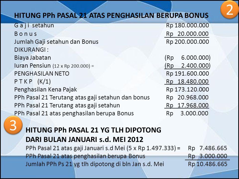 2 3 G a j i setahun Rp 180.000.000 DARI BULAN JANUARI s.d. MEI 2012