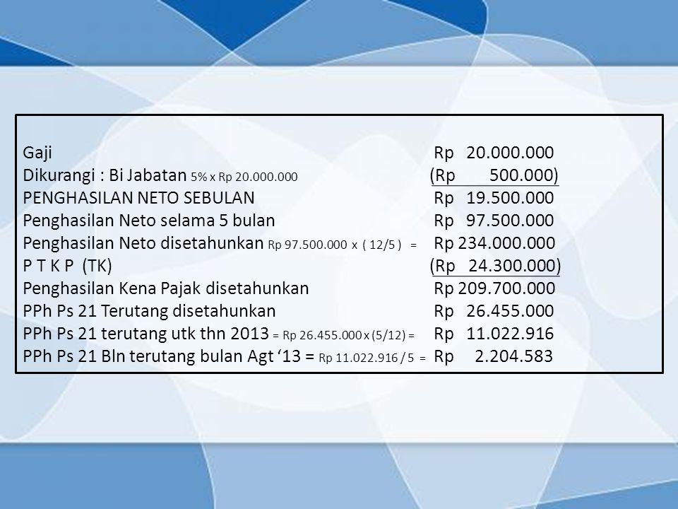 Gaji Rp 20.000.000 Dikurangi : Bi Jabatan 5% x Rp 20.000.000 (Rp 500.000) PENGHASILAN NETO SEBULAN Rp 19.500.000.