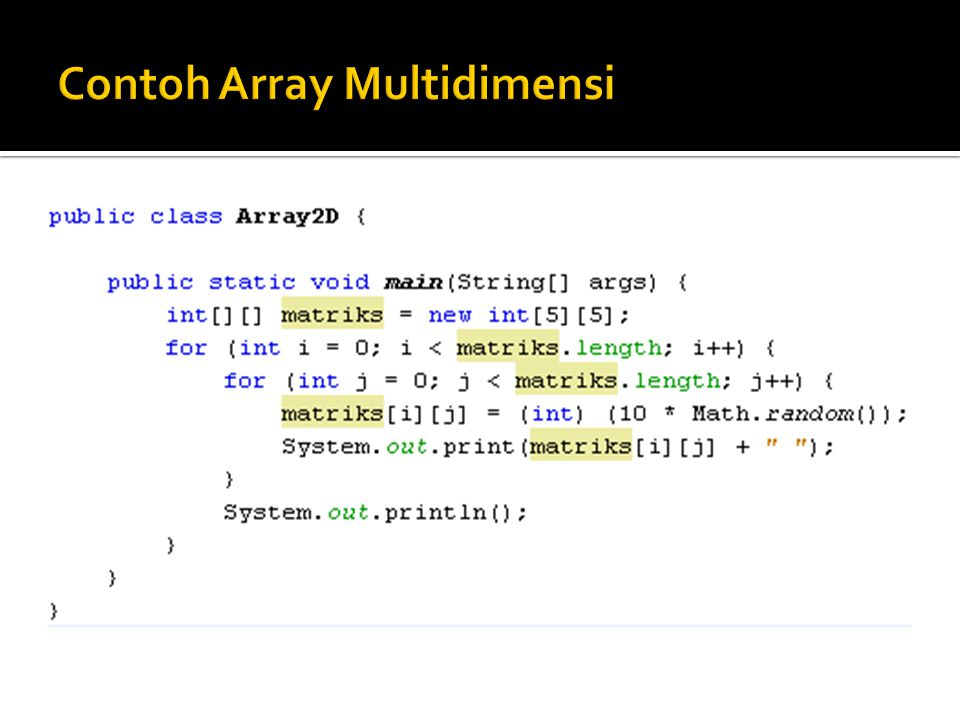 Contoh Array Multidimensi