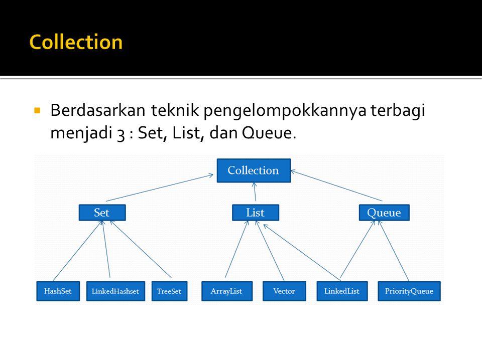 Collection Berdasarkan teknik pengelompokkannya terbagi menjadi 3 : Set, List, dan Queue.