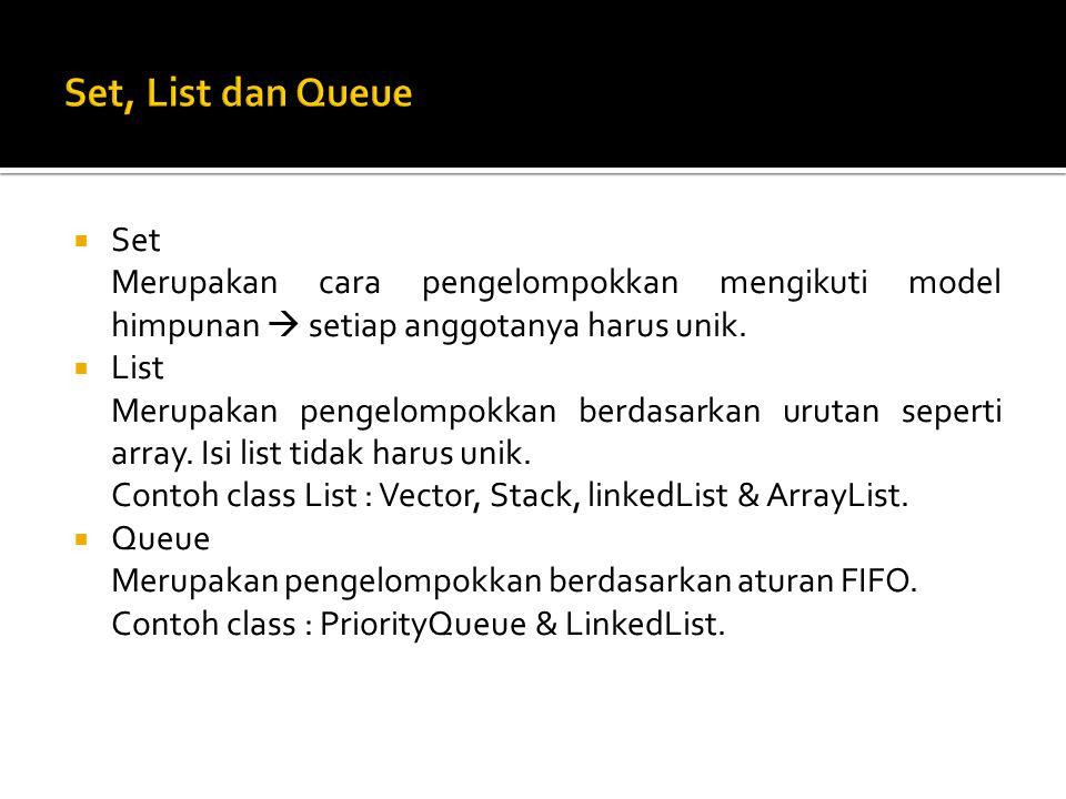 Set, List dan Queue Set. Merupakan cara pengelompokkan mengikuti model himpunan  setiap anggotanya harus unik.