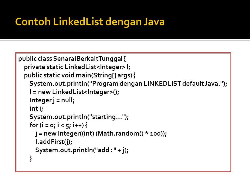 Contoh LinkedList dengan Java