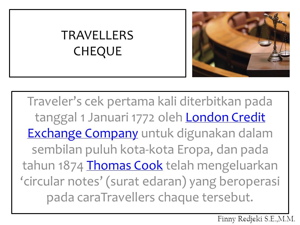 TRAVELLERS CHEQUE.