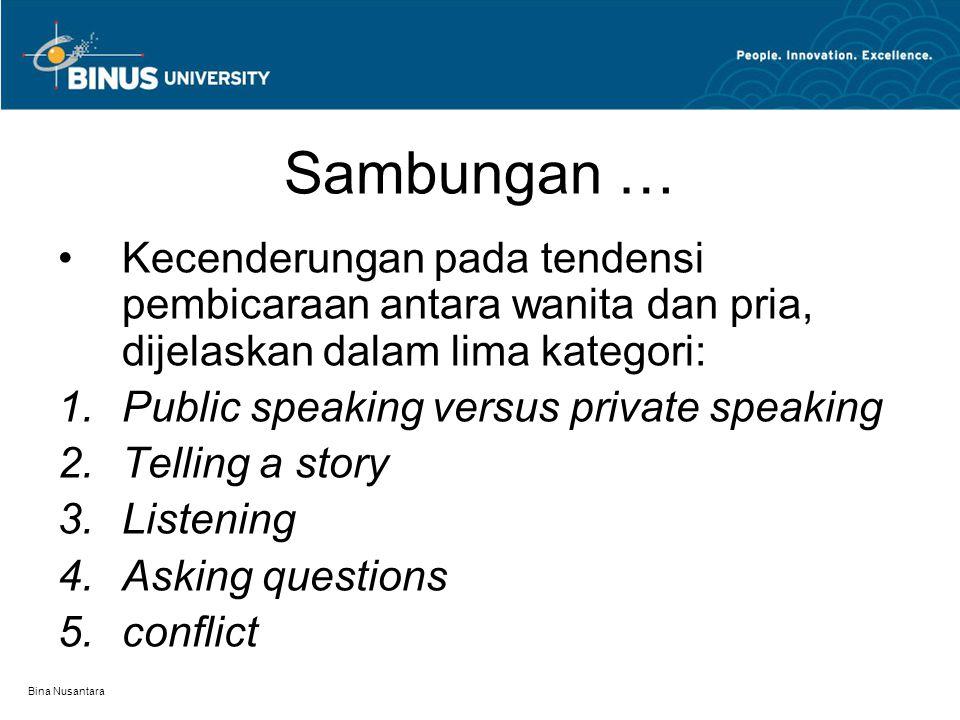 Sambungan … Kecenderungan pada tendensi pembicaraan antara wanita dan pria, dijelaskan dalam lima kategori: