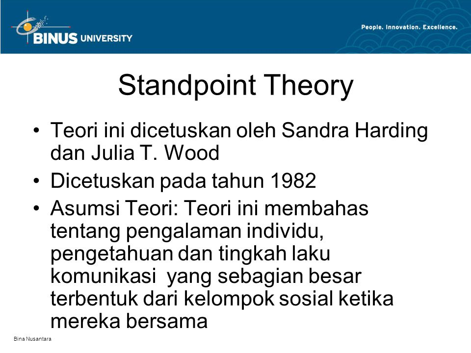 Standpoint Theory Teori ini dicetuskan oleh Sandra Harding dan Julia T. Wood. Dicetuskan pada tahun 1982.