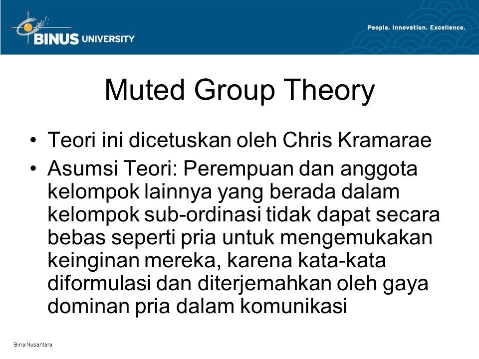 Muted Group Theory Teori ini dicetuskan oleh Chris Kramarae