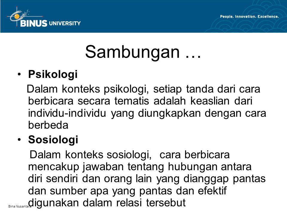 Sambungan … Psikologi.