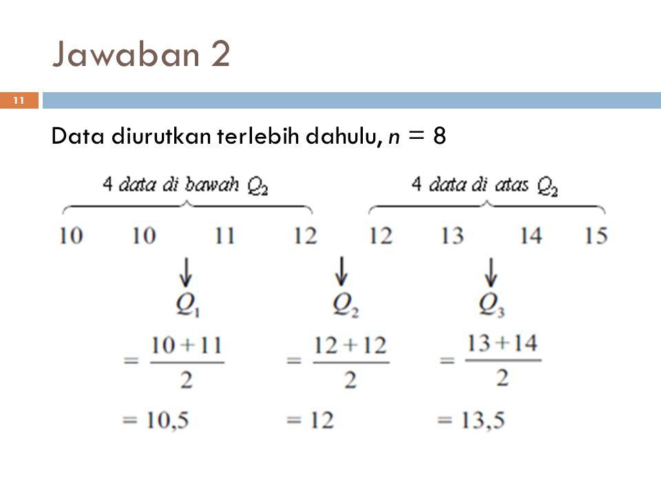 Jawaban 2 Data diurutkan terlebih dahulu, n = 8