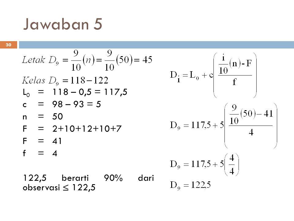 Jawaban 5 L0 = 118 – 0,5 = 117,5. c = 98 – 93 = 5. n = 50. F = 2+10+12+10+7. F = 41. f = 4.